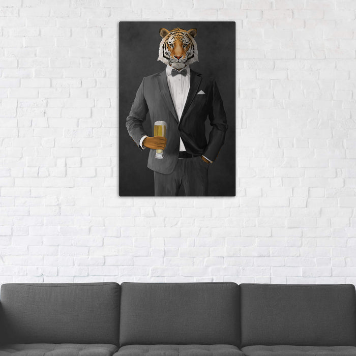 Tiger Drinking Beer Wall Art - Gray Suit