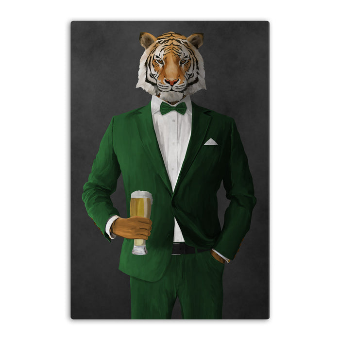Tiger drinking beer wearing green suit canvas wall art