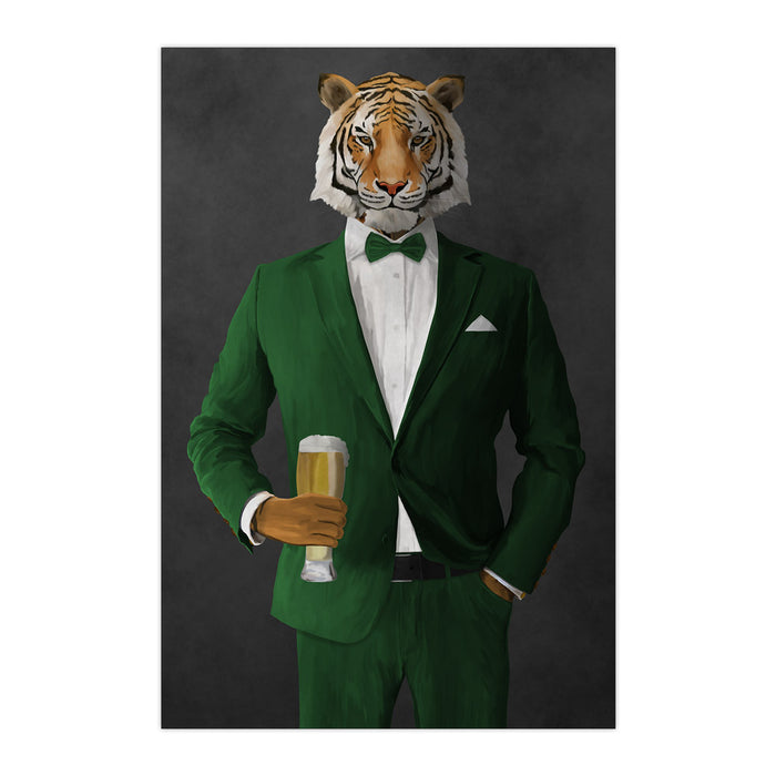 Tiger drinking beer wearing green suit large wall art print