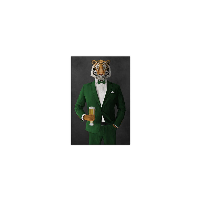 Tiger drinking beer wearing green suit small wall art print