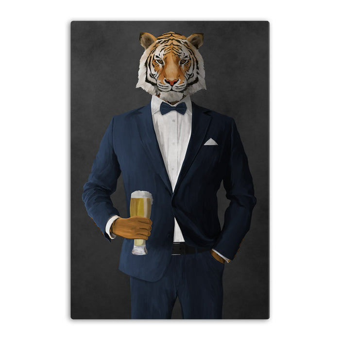 Tiger drinking beer wearing navy suit canvas wall art