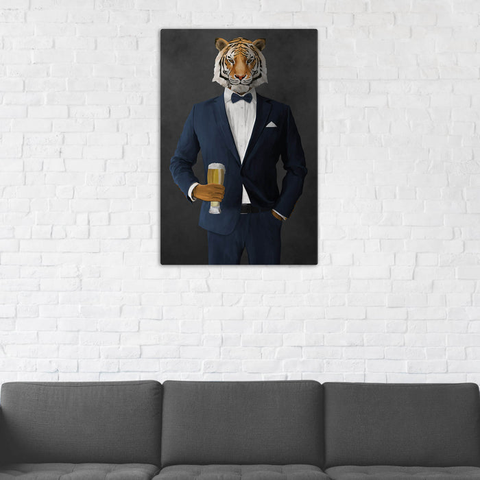 Tiger Drinking Beer Wall Art - Navy Suit