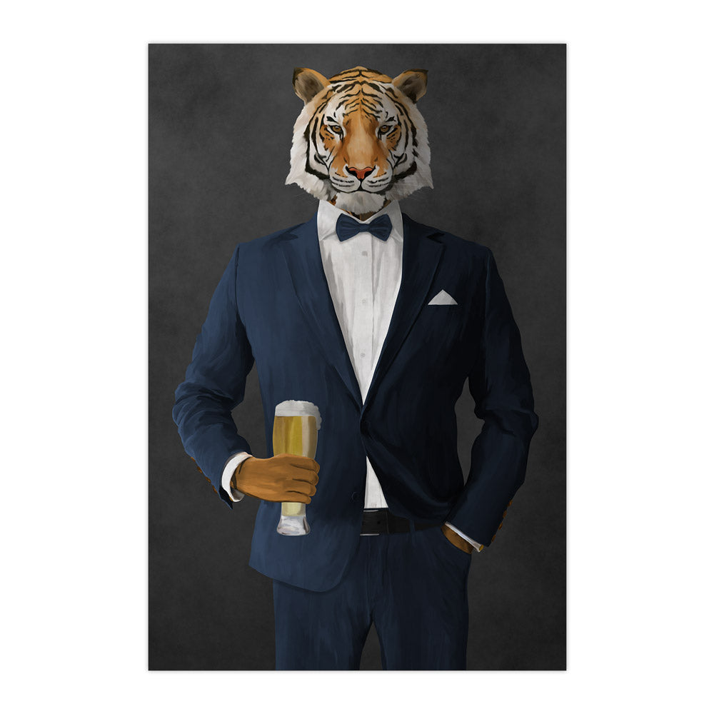 Tiger drinking beer wearing navy suit large wall art print