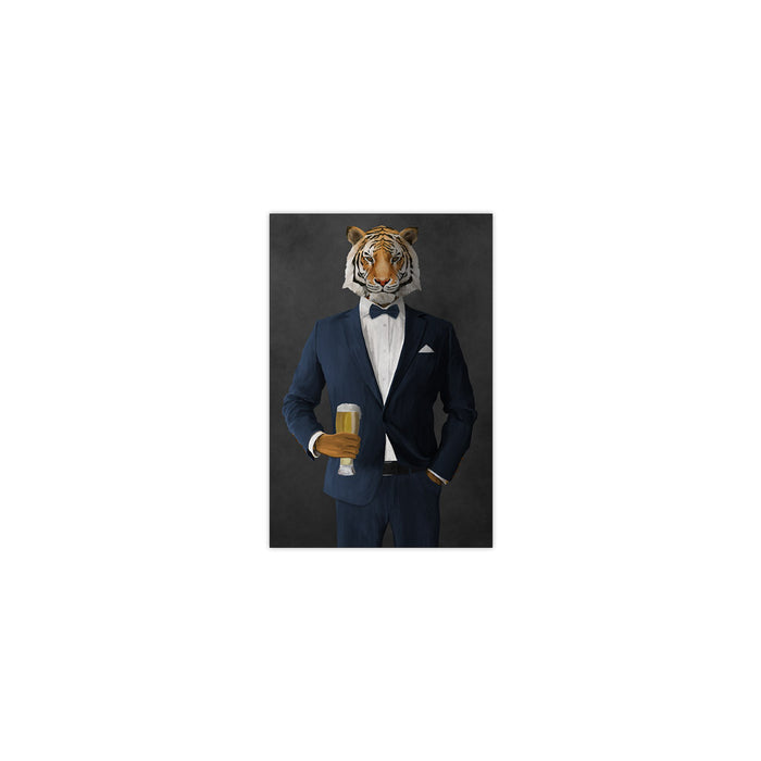 Tiger drinking beer wearing navy suit small wall art print