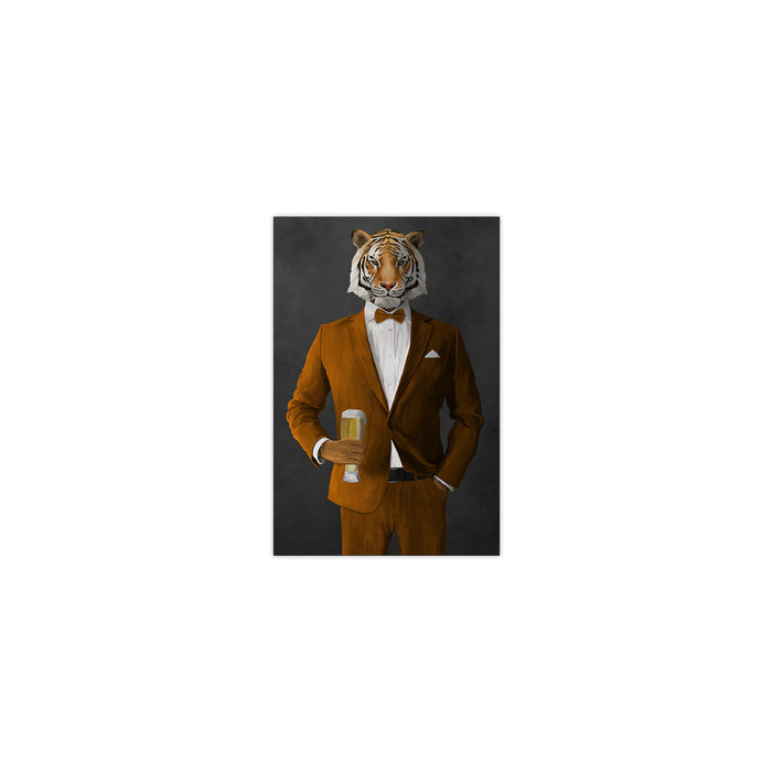 Tiger drinking beer wearing orange suit small wall art print