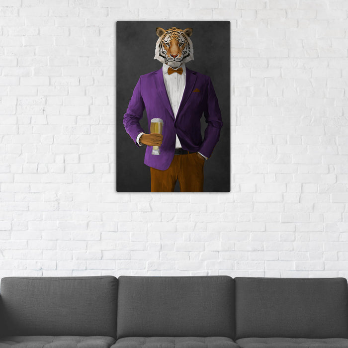 Tiger Drinking Beer Wall Art - Purple and Orange Suit