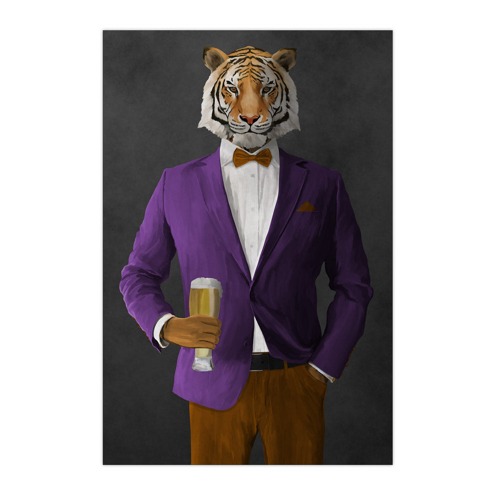Tiger drinking beer wearing purple and orange suit large wall art print