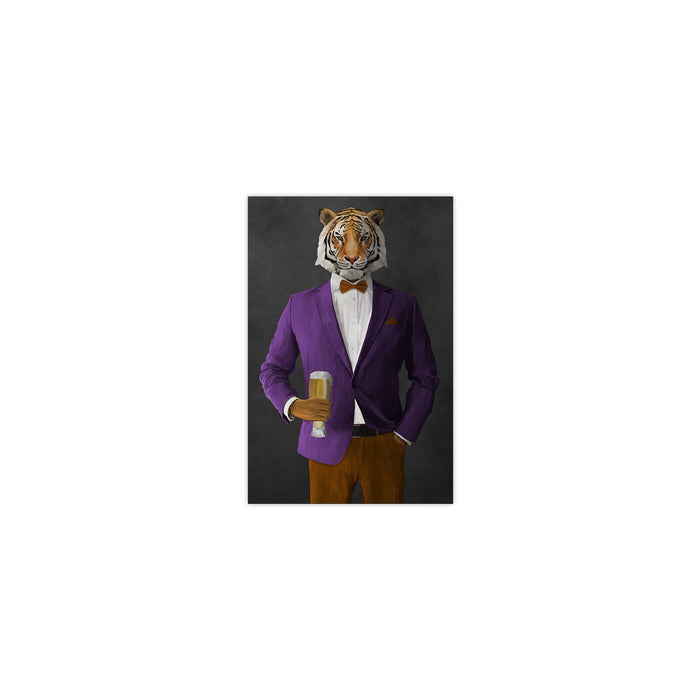 Tiger drinking beer wearing purple and orange suit small wall art print
