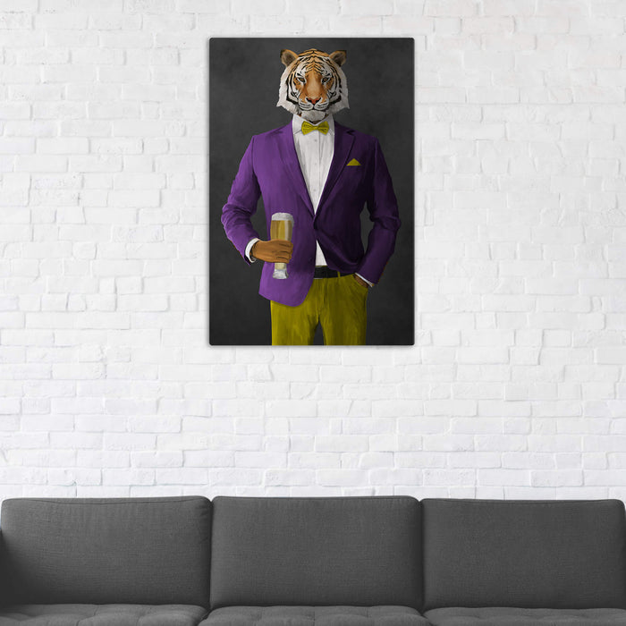 Tiger Drinking Beer Wall Art - Purple and Yellow Suit