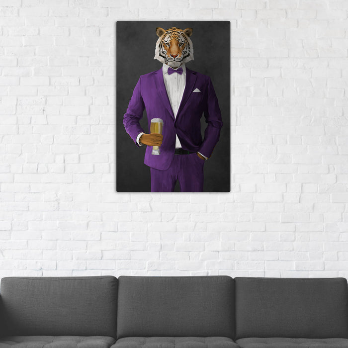 Tiger Drinking Beer Wall Art - Purple Suit