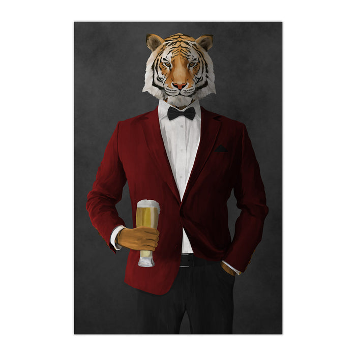 Tiger drinking beer wearing red and black suit large wall art print