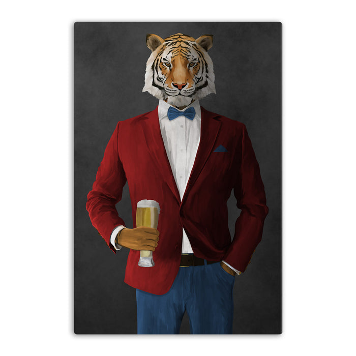 Tiger drinking beer wearing red and blue suit canvas wall art