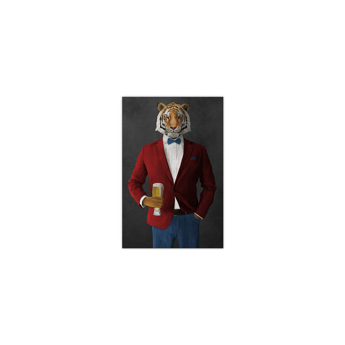Tiger drinking beer wearing red and blue suit small wall art print
