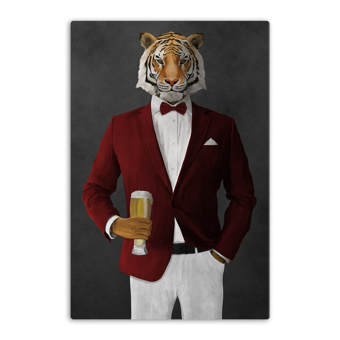 Tiger drinking beer wearing red and white suit canvas wall art