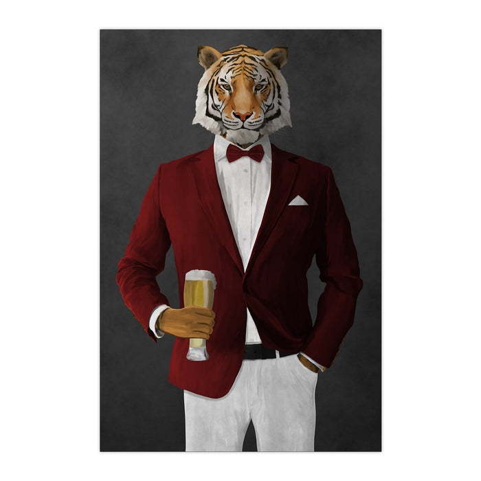 Tiger drinking beer wearing red and white suit large wall art print
