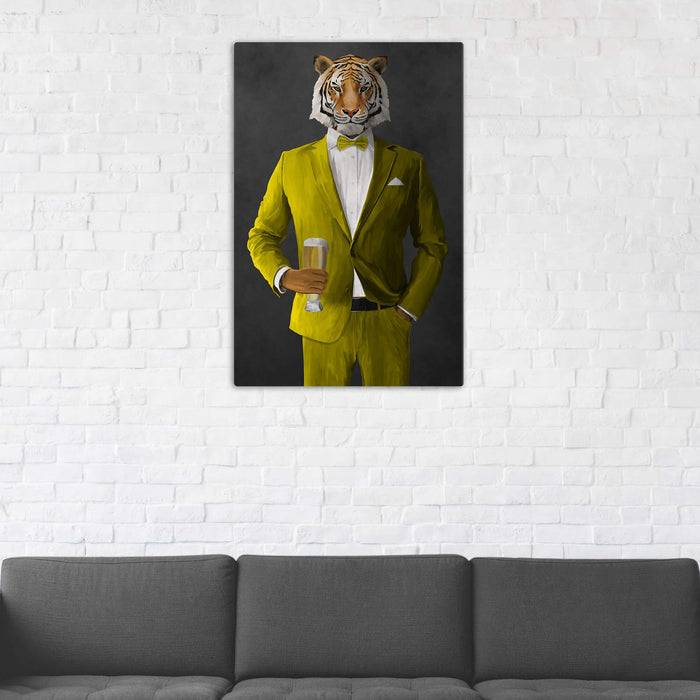 Tiger Drinking Beer Wall Art - Yellow Suit