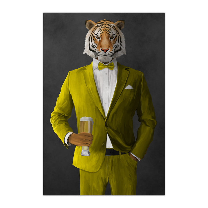 Tiger drinking beer wearing yellow suit large wall art print