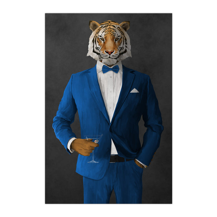 Tiger drinking martini wearing blue suit large wall art print