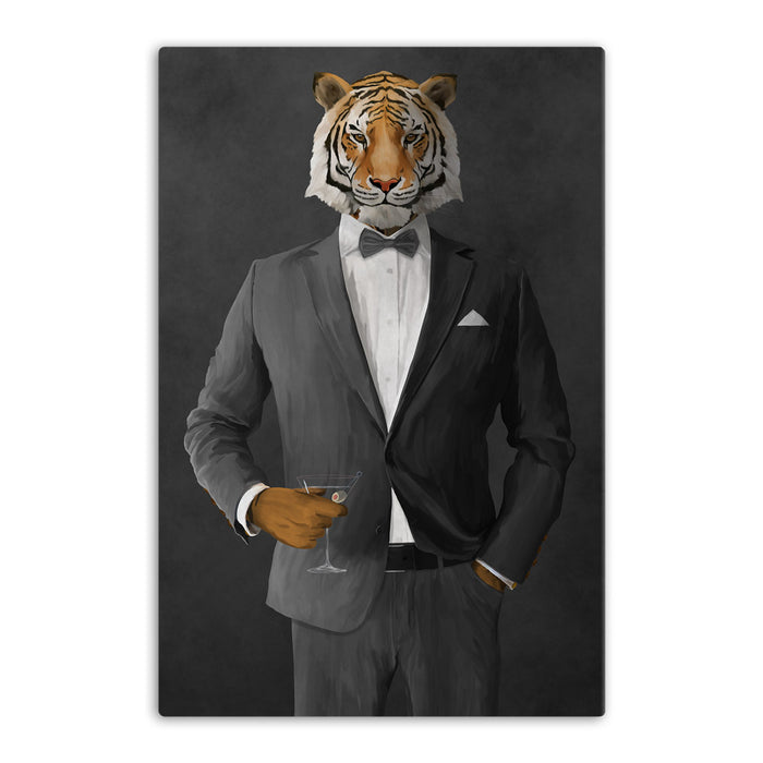 Tiger drinking martini wearing gray suit canvas wall art