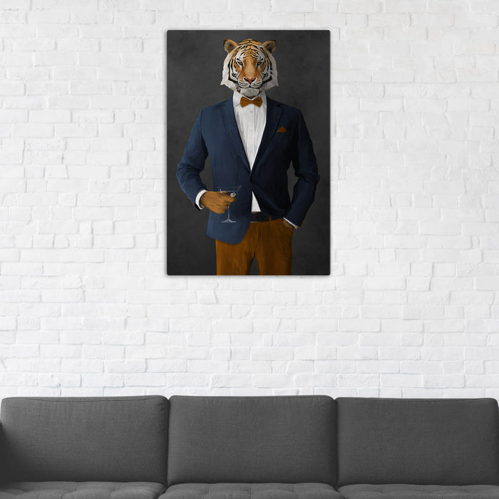 Tiger Drinking Martini Wall Art - Navy and Orange Suit