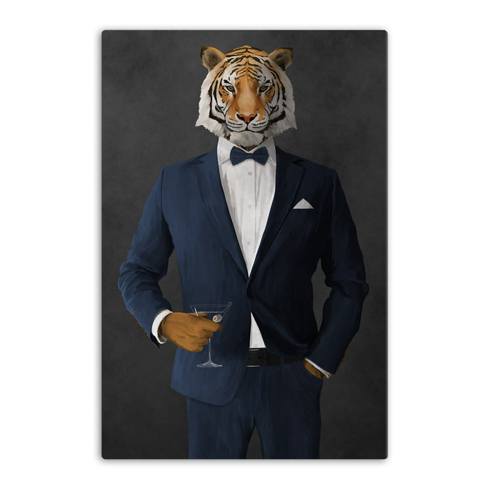 Tiger drinking martini wearing navy suit canvas wall art