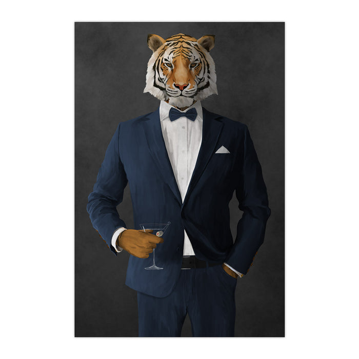 Tiger drinking martini wearing navy suit large wall art print