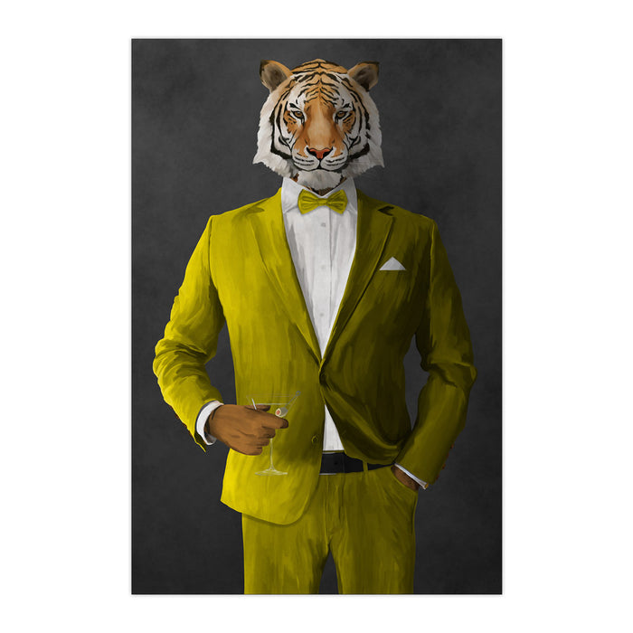 Tiger drinking martini wearing yellow suit large wall art print