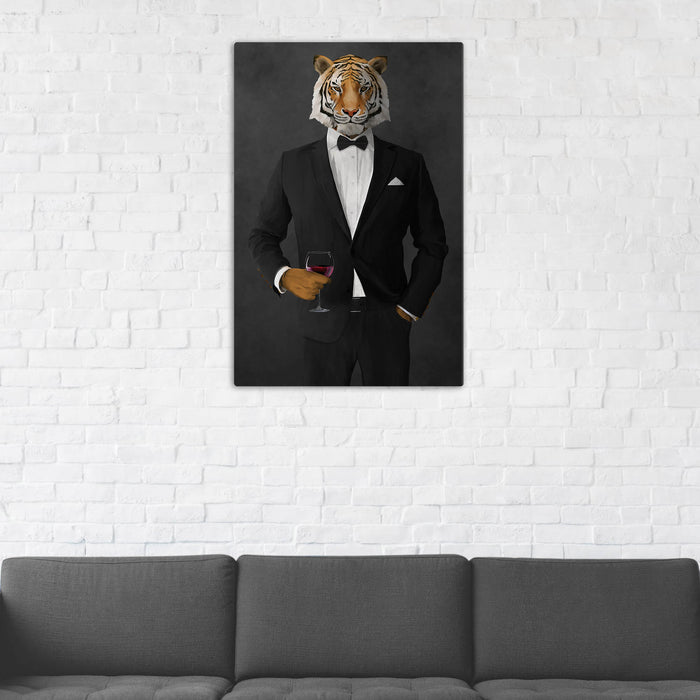 Tiger Drinking Red Wine Wall Art - Black Suit