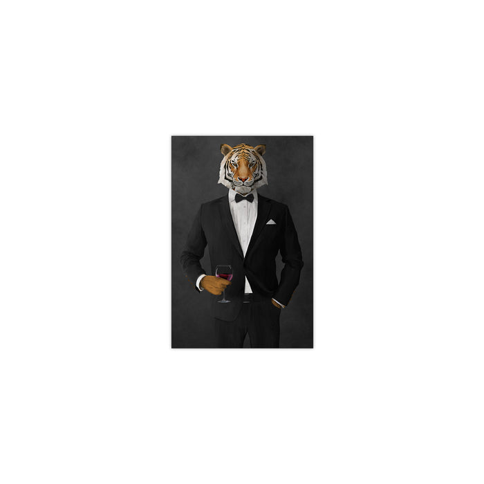 Tiger drinking red wine wearing black suit small wall art print