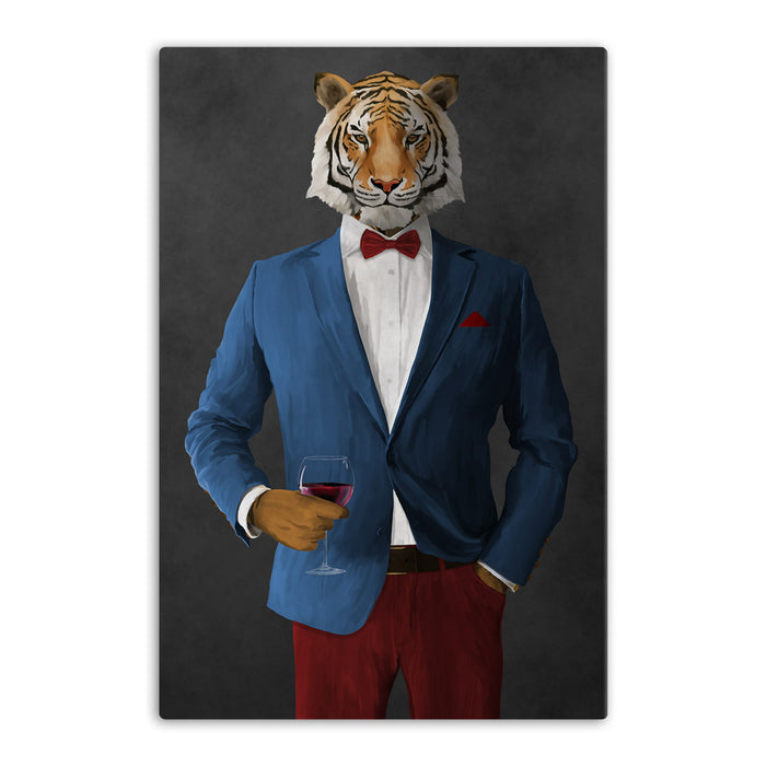 Tiger drinking red wine wearing blue and red suit canvas wall art