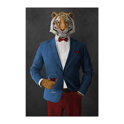 Tiger drinking red wine wearing blue and red suit large wall art print