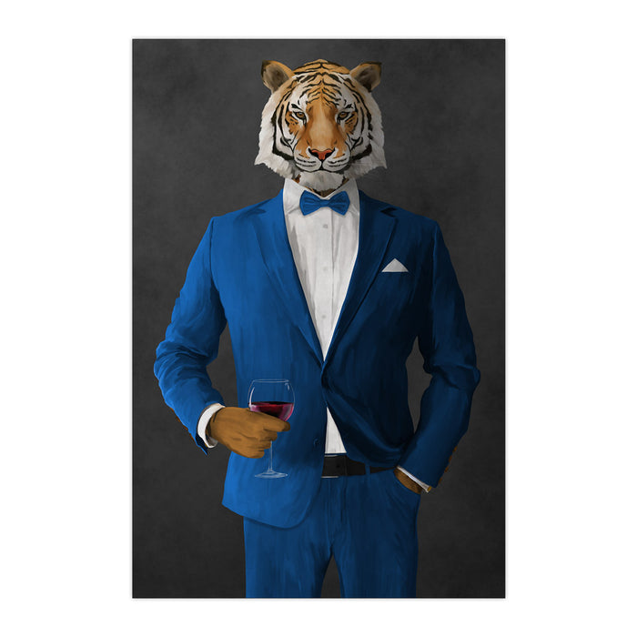 Tiger drinking red wine wearing blue suit large wall art print