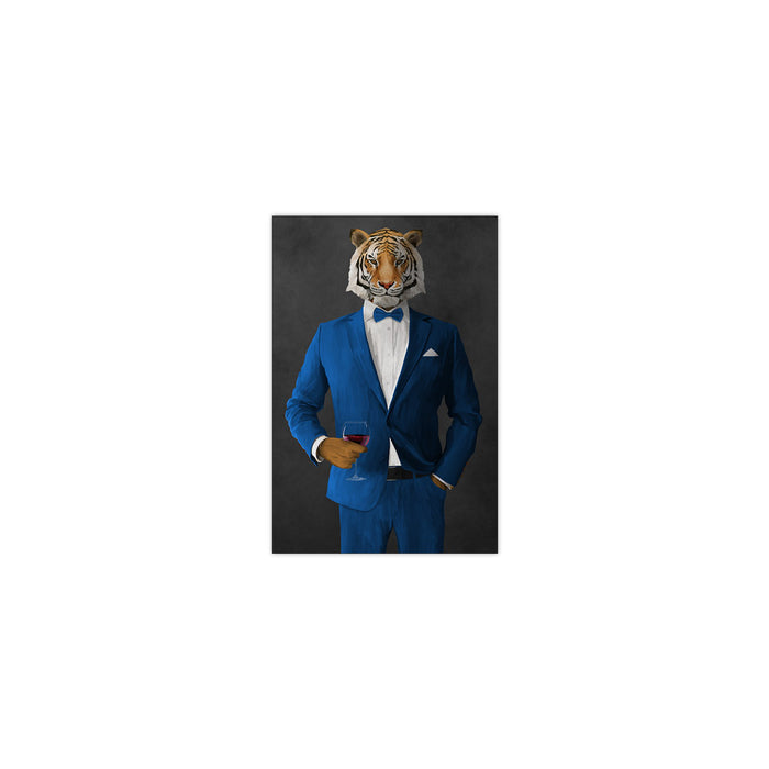 Tiger drinking red wine wearing blue suit small wall art print