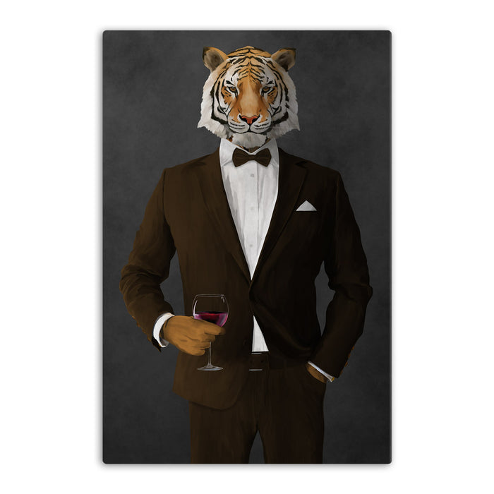 Tiger drinking red wine wearing brown suit canvas wall art