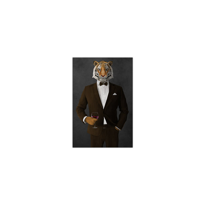 Tiger drinking red wine wearing brown suit small wall art print