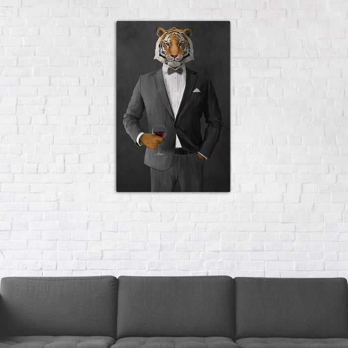 Tiger Drinking Red Wine Wall Art - Gray Suit