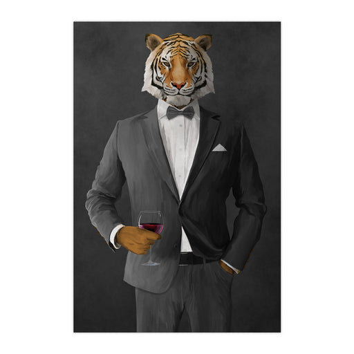 Tiger drinking red wine wearing gray suit large wall art print