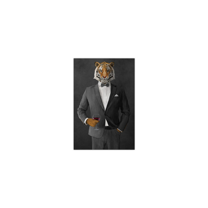 Tiger drinking red wine wearing gray suit small wall art print