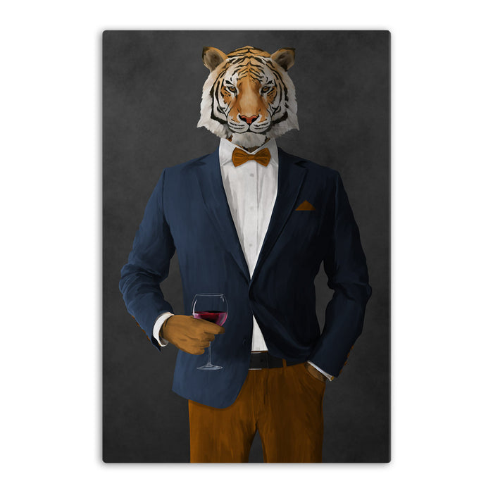 Tiger drinking red wine wearing navy and orange suit canvas wall art