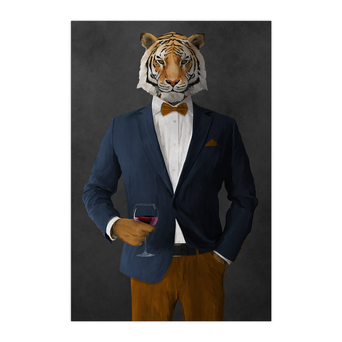 Tiger drinking red wine wearing navy and orange suit large wall art print