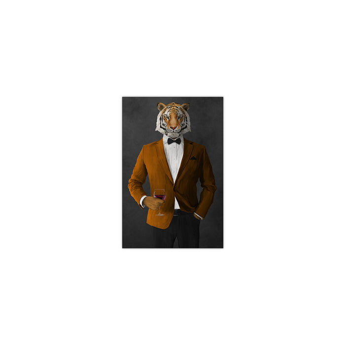 Tiger drinking red wine wearing orange and black suit small wall art print