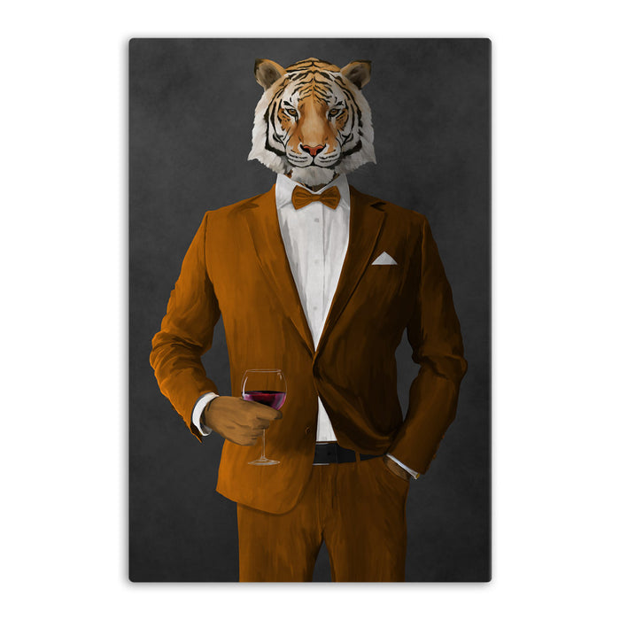 Tiger drinking red wine wearing orange suit canvas wall art