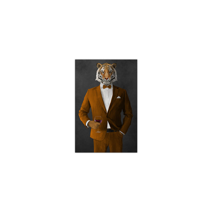 Tiger drinking red wine wearing orange suit small wall art print