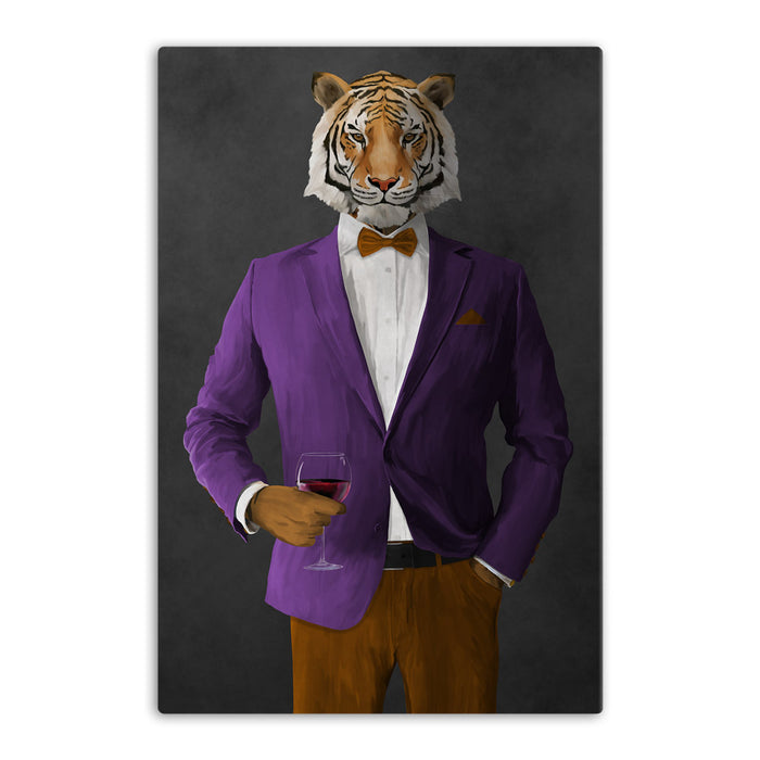 Tiger drinking red wine wearing purple and orange suit canvas wall art