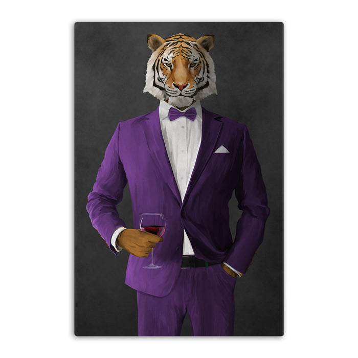 Tiger drinking red wine wearing purple suit canvas wall art