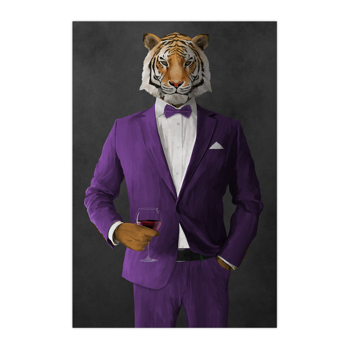 Tiger drinking red wine wearing purple suit large wall art print