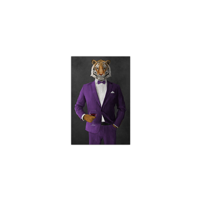 Tiger drinking red wine wearing purple suit small wall art print