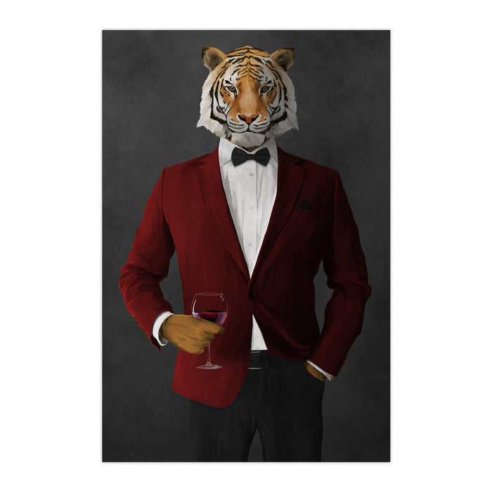 Tiger drinking red wine wearing red and black suit large wall art print