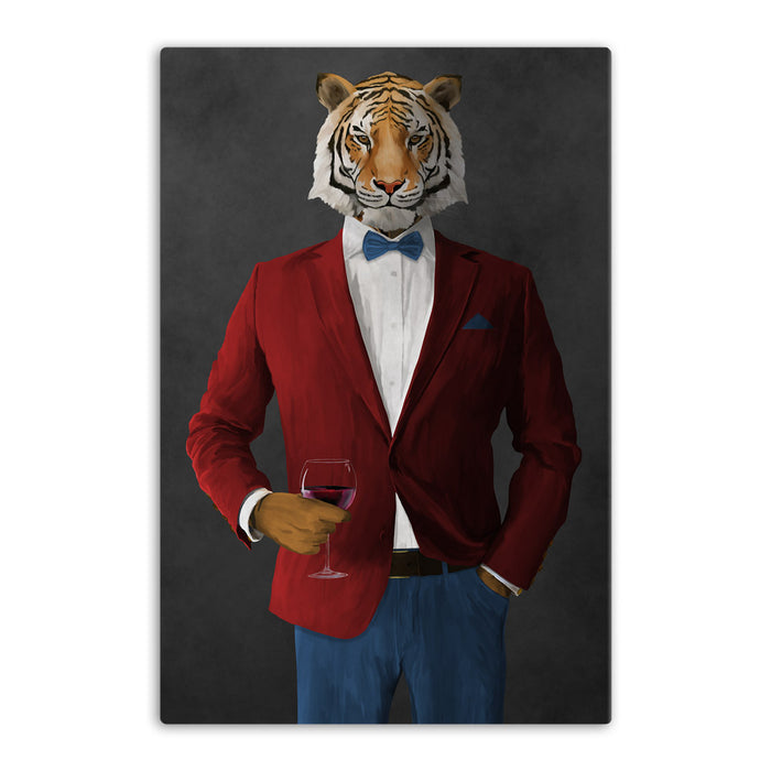 Tiger drinking red wine wearing red and blue suit canvas wall art