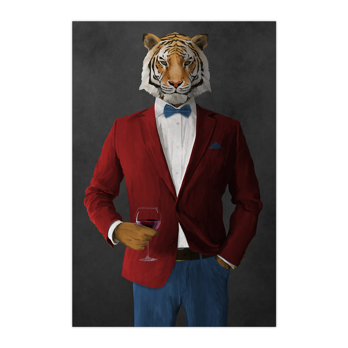 Tiger drinking red wine wearing red and blue suit large wall art print